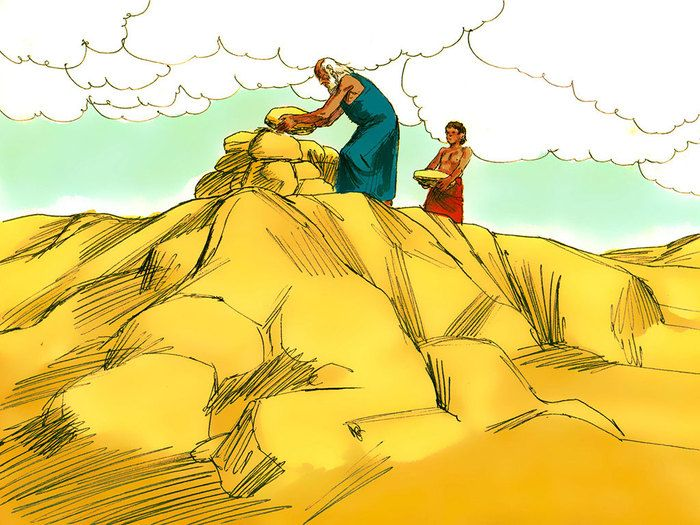 Free Bible illustrations at Free Bible images of the miraculous birth of Isaac to Abraham and Sarah and how God tested Abraham's faith. (Genesis 21:1-7, 22:1-19): Slide 11