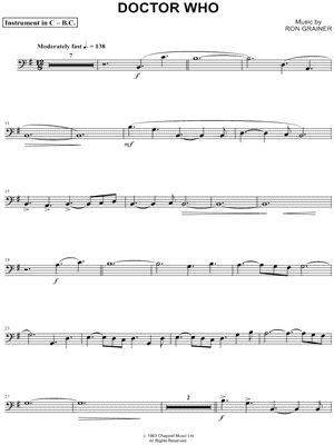 Doctor Who Theme \u2013 Bass Clef Instrument\u201d from Doctor Who Sheet Music