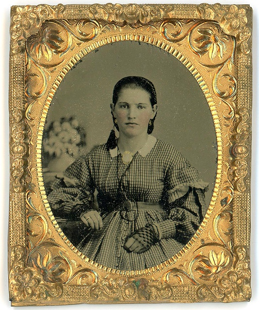 Tintype of Young Woman - great dress, gloves, hair net and a strange decoration on right side of neck...