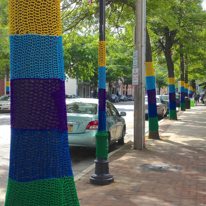 Yarnbombed trees in Oyster Baby, NY as part of The Hand-Stitched Hamlet project.