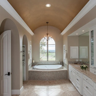 Master bathroom w barrel ceiling new house pinterest for Master bathroom vaulted ceiling
