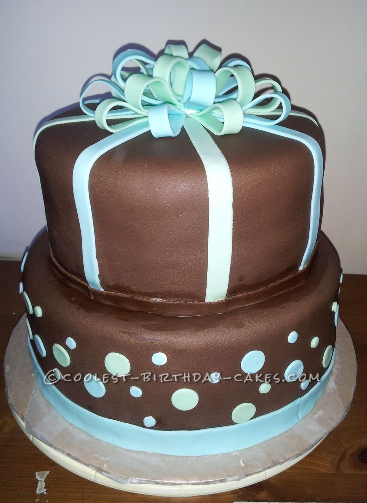 Simple Birthday Cake Designs For Baby Boy : Simple Ribbon Cake for Baby Boy Shower
