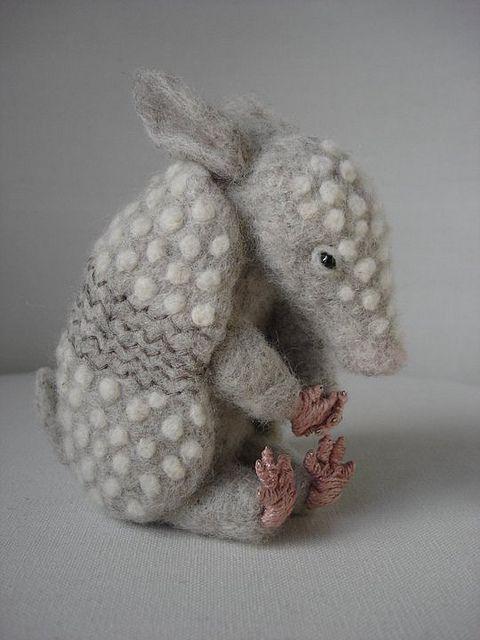Handmade decor - Needle Felted Baby Armadillo