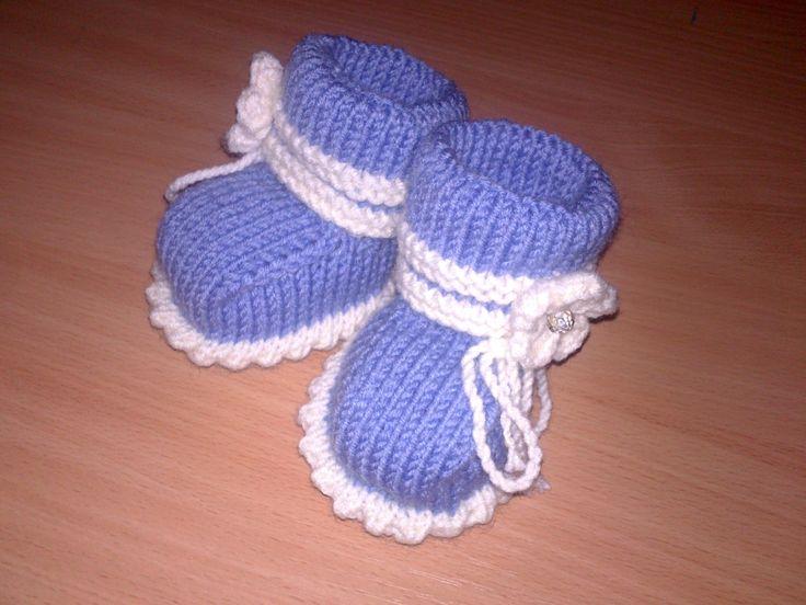 Вязание спицами детские пинетки