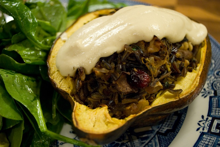 Cranberry-Orange Stuffed Acorn Squash with Wild Rice, Walnuts ...