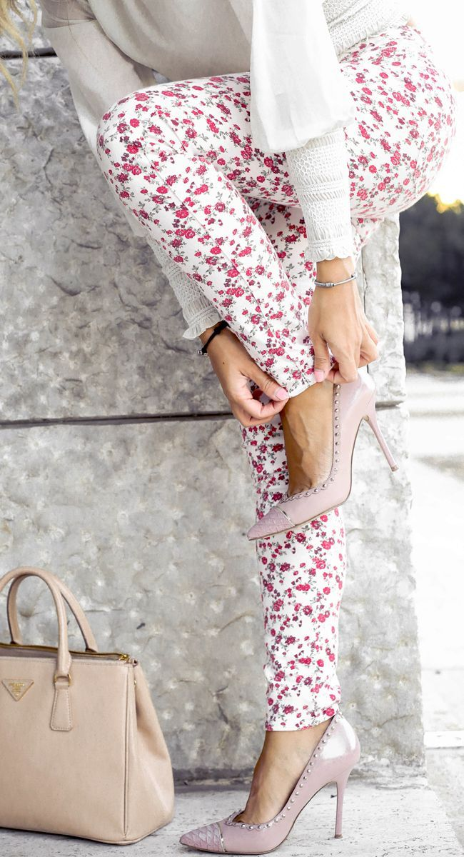 White Multi Floral Pants by Glamgerous