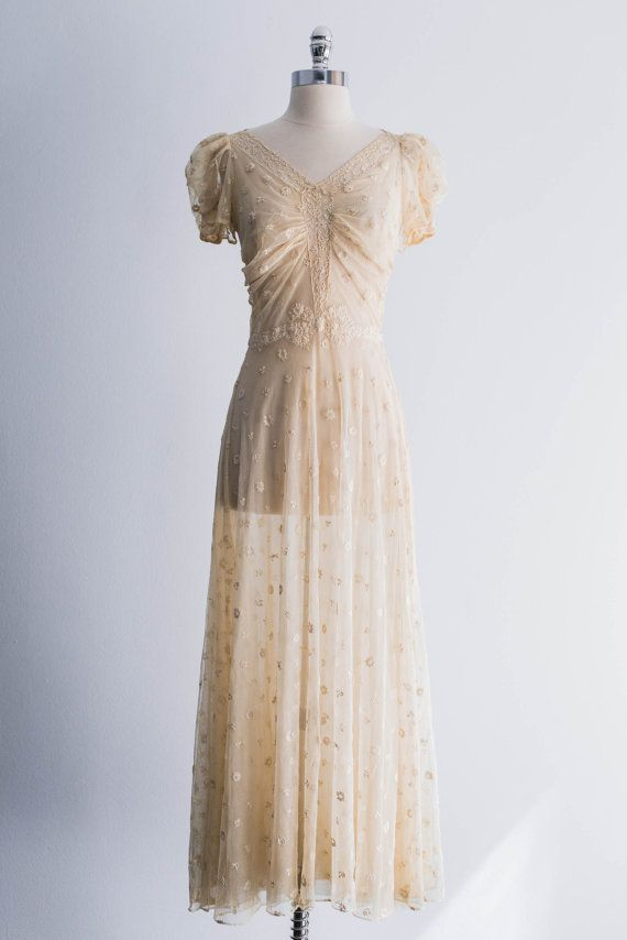 1940s embroidered tulle wedding dress by shopgossamer on etsy 335 00