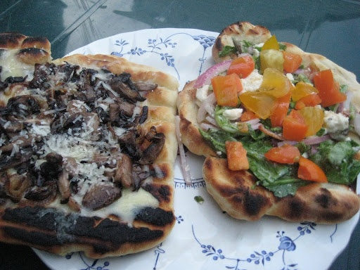 Grilled Pizza (Caramelized Onion And Mushroom and BLT pizza)
