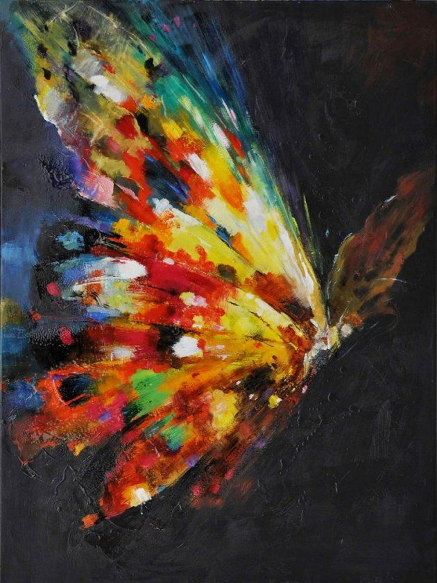 Butterfly hand painted on canvas art collection for Watercolor paintings of hands