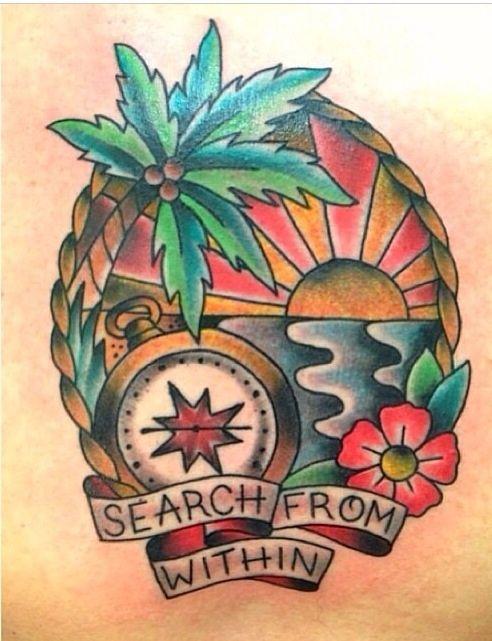 Beach scene tattoo by carrie daniels tattoos by carrie for Beach scene tattoos