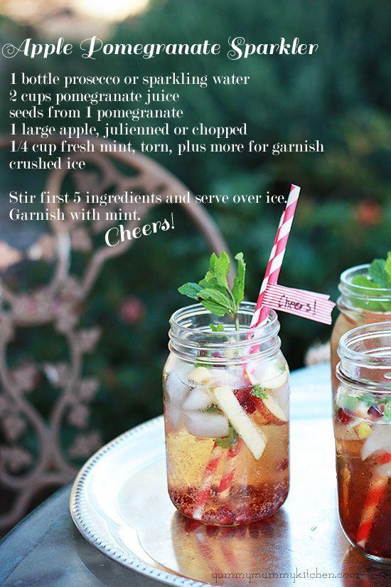 Apple pomegranate sparkler | Entry beverage | Pinterest