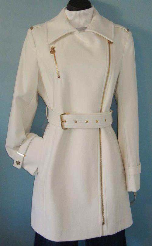 new michael kors asymmetrical belted coat winter white size 8. Black Bedroom Furniture Sets. Home Design Ideas