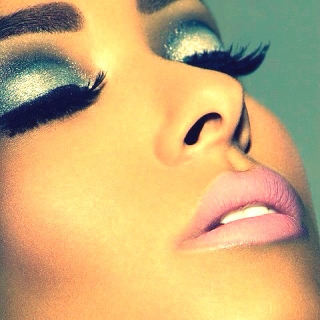 Shimmery blue eyeshadow and false lashes