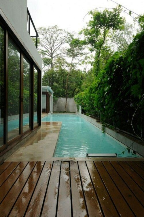 Narrow Backyard Pool : side yards