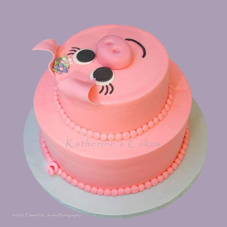 Macy's 1st Birthday PIG Cake! xo | it's a girl... xo ...