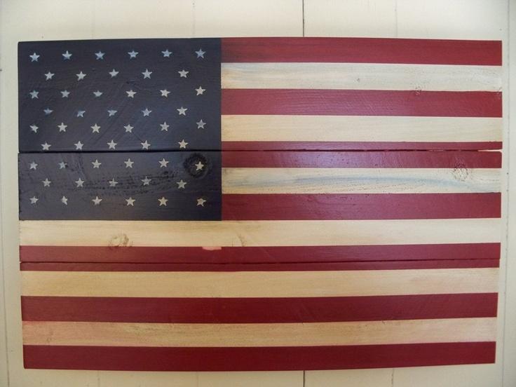 Lightly distressed american flag wood art wall hanging American flag wood wall art