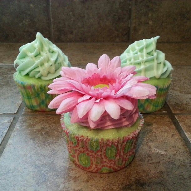 Pistachio Cupcake with Raspberry Creamcheese Frosting, topped with a ...