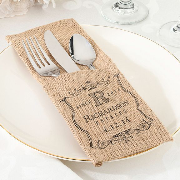Personalized Burlap Silverware Holders - Set of 4 - Great for a Rustic, Country, or Burlap and Lace Wedding #weddingreception #rusticwedding #burlapwedding