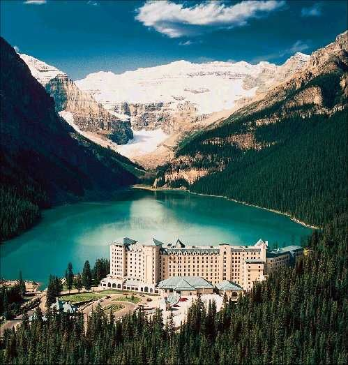 Fairmont Chateau at Lake Louise inside Banff National Park - Alberta, Canada  The lake really is this emerald color; a result of glacial melt-water runoff
