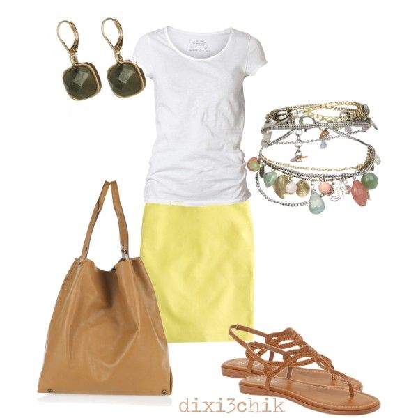 the yellow skirt makes this a cheerful outfit for spring or summer.
