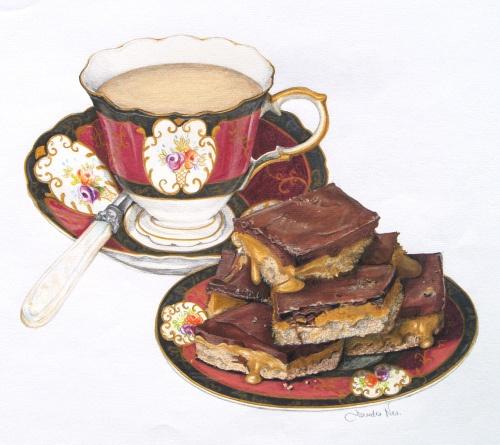 Chocolate Caramel Slice | Food Art & Illustrations | Pinterest