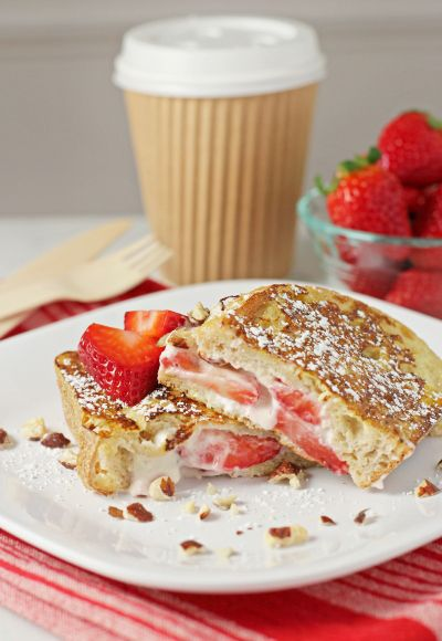 Stuffed french toast with strawberries, hazelnuts and mascarpone. A ...
