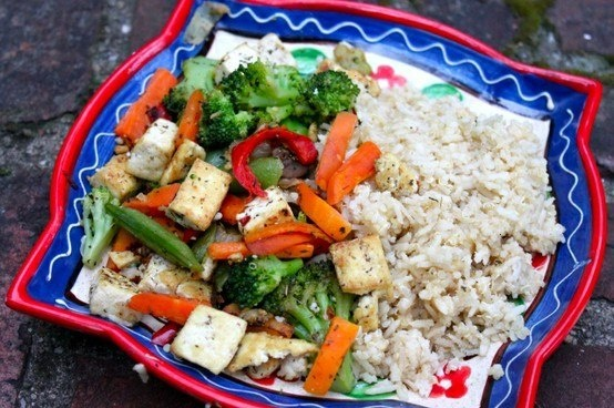 Stir-fried tofu with vegetables and quinoa and brown rice medley