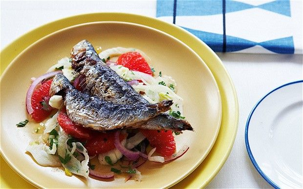 Grilled sardines with fennel, onion and citrus salad recipe
