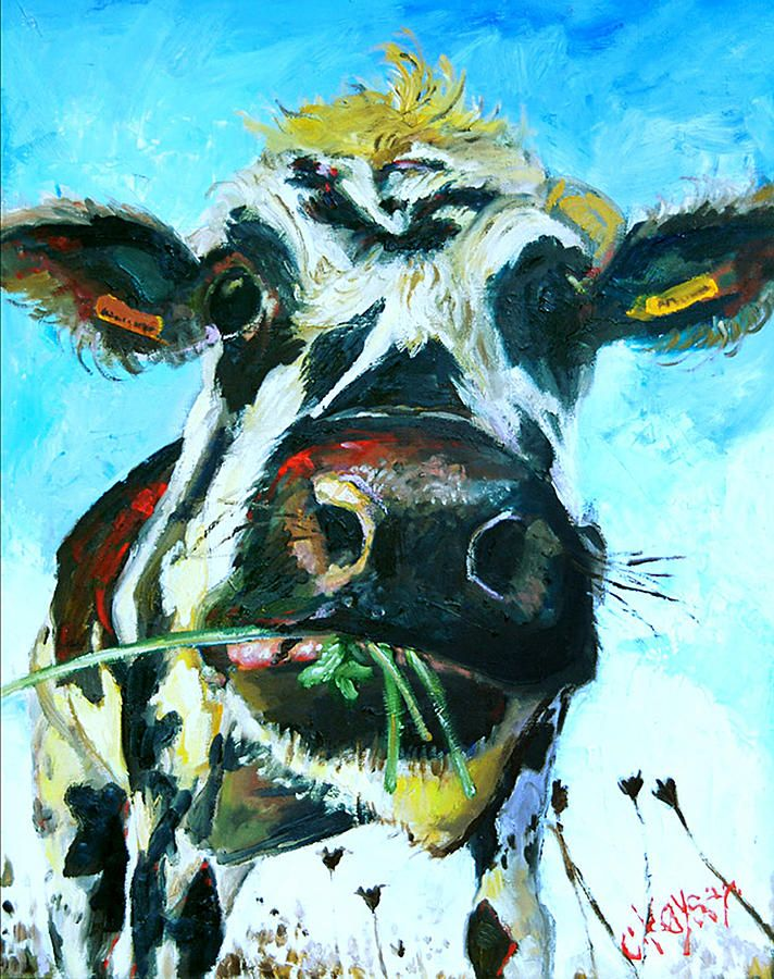 by Claire Kayser cow painting. WANT!