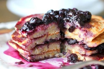 Lemon Scented Polenta Pancakes with Blueberry Thyme Syrup ~ thinking ...