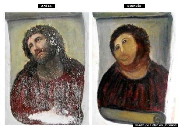 Elderly Woman's Hilarious Failed Attempt At Restoring A 19th Century Fresco In Borja, Spain