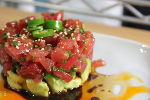 Tuna & Avocado Ceviche. Chopped ahi tuna in a spicy, garlicky sauce ...