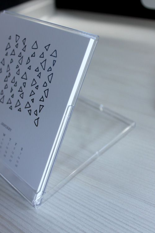 Homemade calendar with CD jewel case stand.