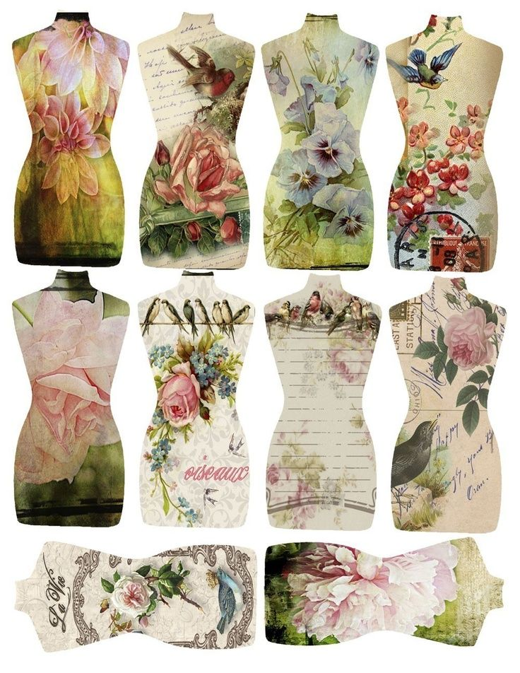 Floral and Birds Torso Tags.