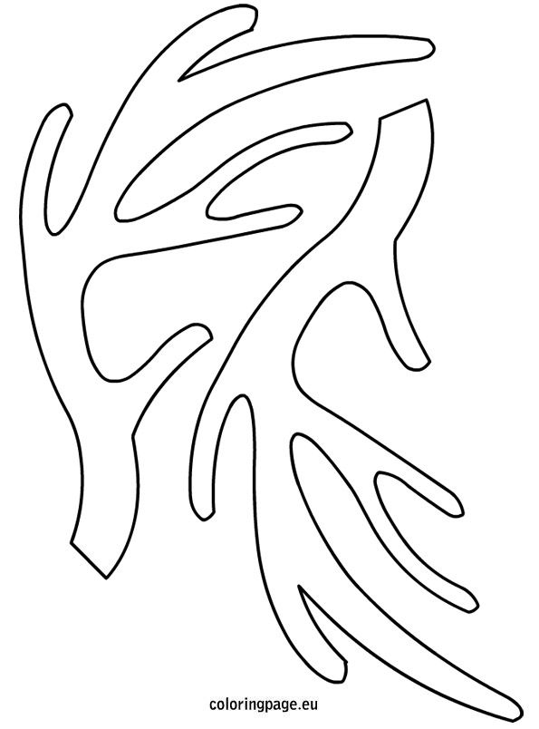 free coloring pages of antlers template With template for reindeer antlers