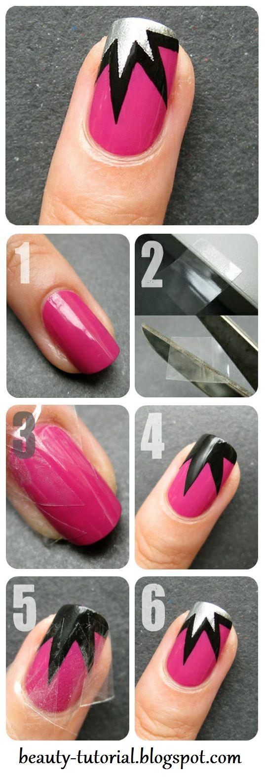 Explosion nail art design tape manicure tutorial