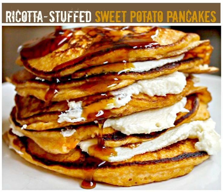 decadent and DIVINE! These sweet potato pancakes, stuffed with ricotta ...