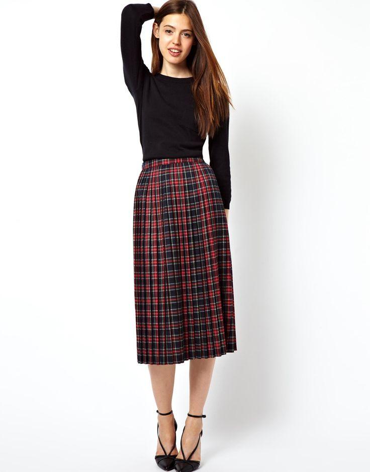 midi skirt in pleated plaid check print