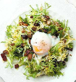 ... and eggs on my greens: Frisee salad with lardons and a poached egg