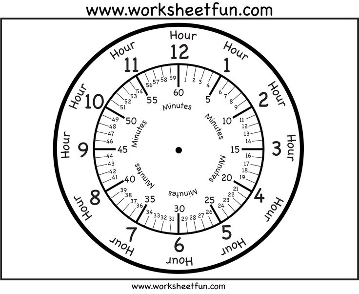 Clock face - with minutes | Teaching Time | Pinterest