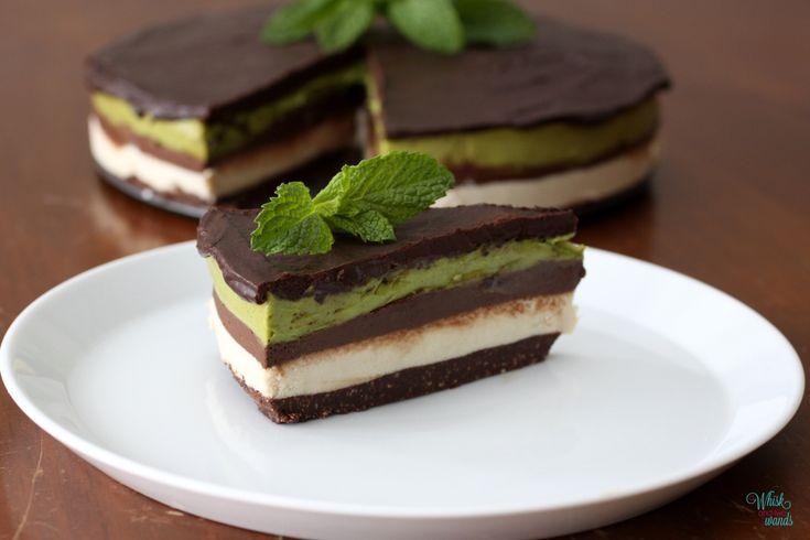 Raw Cashew Layered Chocolate Mint Mousse Cake |