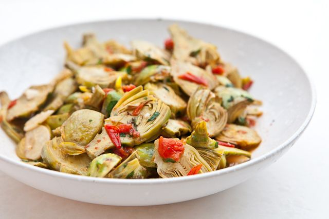 Baby Artichokes with Garlic and Tomatoes...take out the oil, add some ...