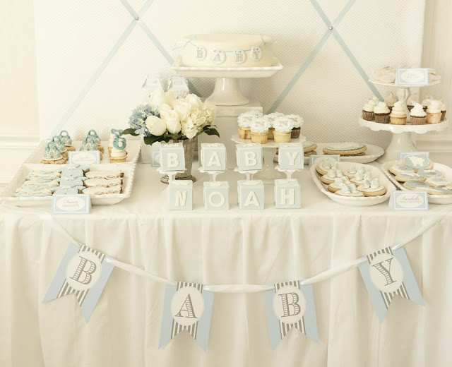 Boy baby shower dessert table blue events pinterest Elegant baby shower decorations