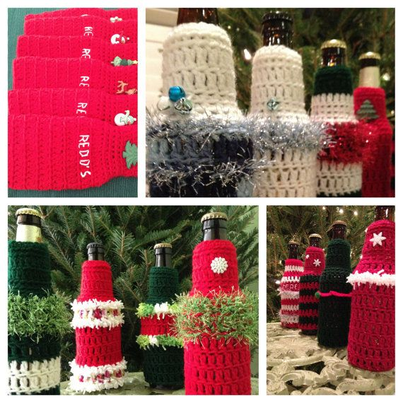 Crochet Patterns For Koozies : Crochet PATTERN Koozie, CIJ, Bottle Koozie, Ugly Christmas ...