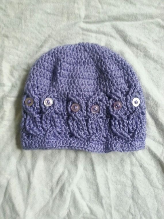 Crochet Cable Owl Hat. by warmthandcomfort on Etsy, USD30.00