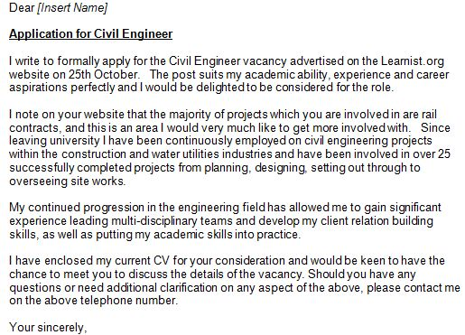 Cover Letter Sample for Civil Engineer Position » Engineering Cover ...