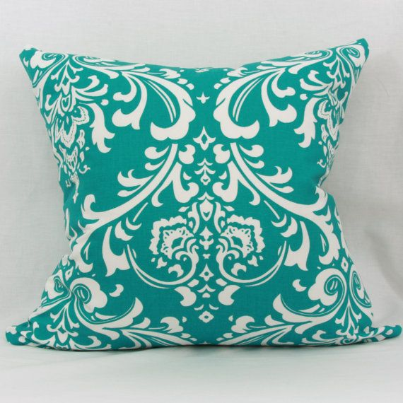 Decorative Pillows With Teal : Teal & white decorative throw pillow cover. 20