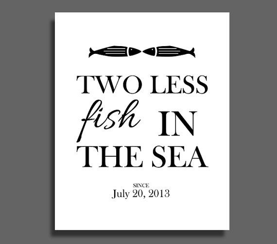 personalized two less fish in the sea couples marriage