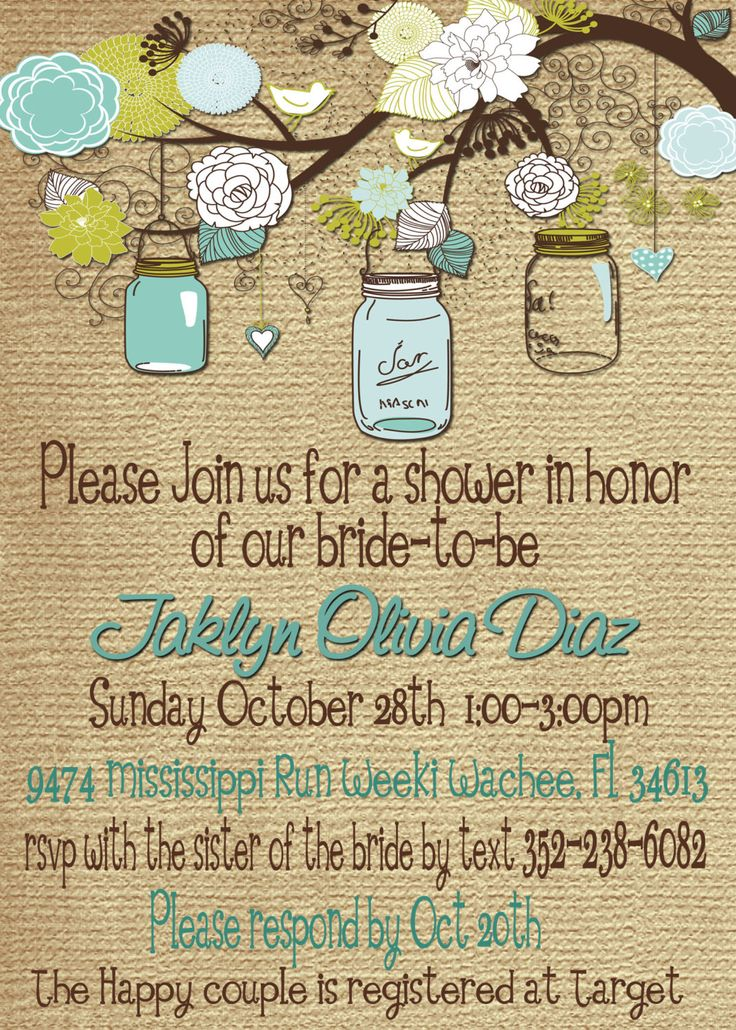bridal shower baby shower mason jar burlap invitation diy print your