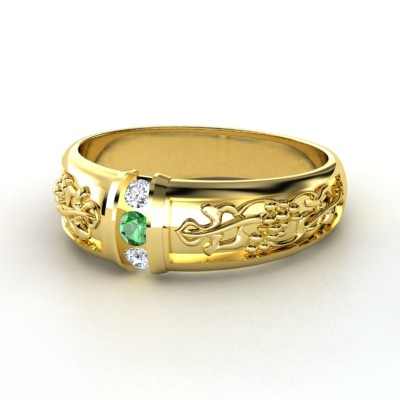 s 14k yellow gold ring with emerald rings and things